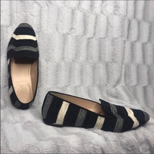 J. Crew Darby Striped Fabric Woven Loafer Flats